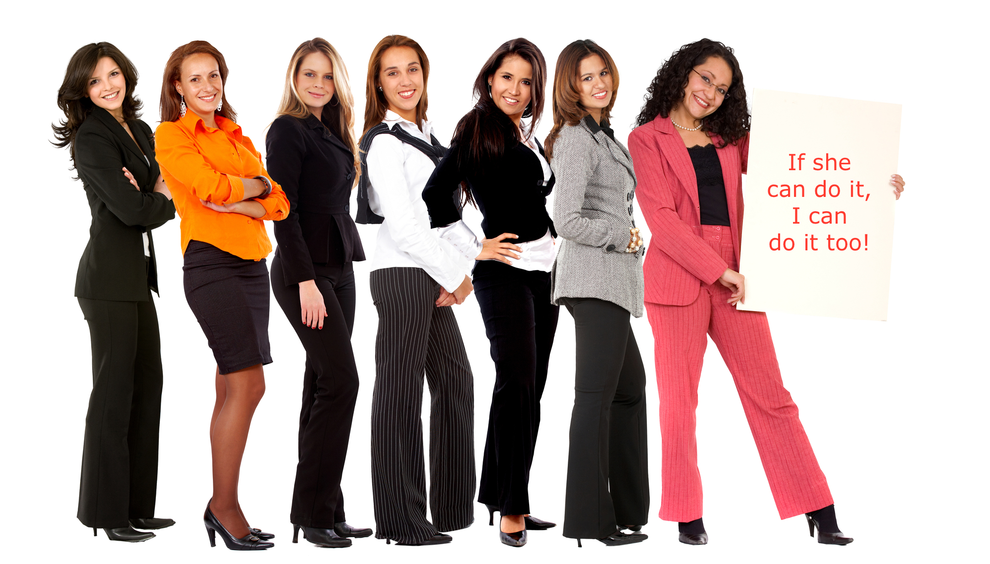 group of business women holding a banner ad isolated on white